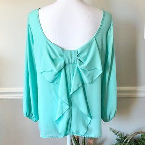 Lovely Day Sea Foam Bow Back Blouse
